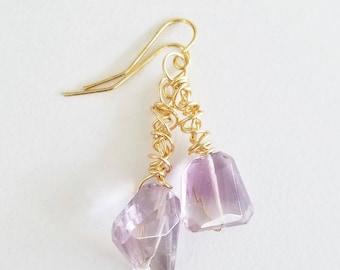 Ametrine Earrings, Handmade Earrings, Gemstone Earrings, Gemstone Jewelry, Gold Earrings, Abstract, Statement Earrings, Handmade, Gift Ideas