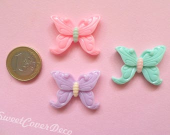 33 x 27 mm 3 Set Cabochon Butterflies Butterfly
