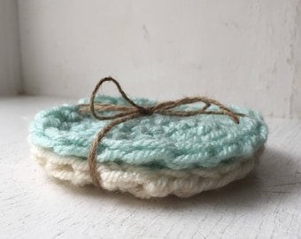 Crochet Coasters | Seafoam & Cream