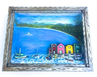 Vintage West Anderson style Diorama~ Seaside Village~ Old fishing town with colorful buildings and boats~ Folk art shadowbox sculpture