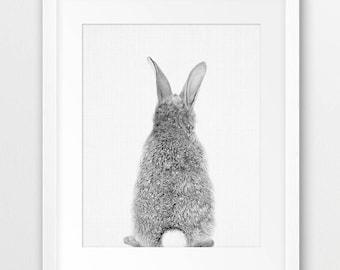 Rabbit Back Print, Nursery Animal Decor, Woodlands Animal Print, Grey Black White, Bunny Tail, Rabbit Photo, Kids Room Decor, Printable Art