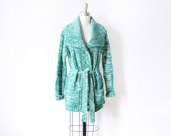 70s green cardigan, vintage 70s space dye sweater, green + white boho hippie 1970s belted cardigan, cable knit shawl collar, medium