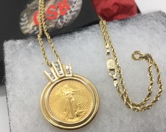22k gold coin necklace, 14k coin necklace, 1/10 gold coin necklace, gold eagle coin, 1996 gold coin, gold coin jewelry, gift for him, TheOSB