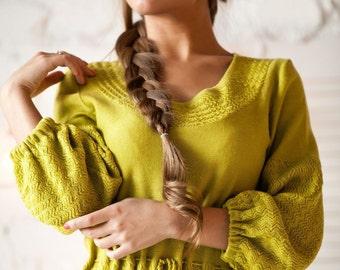 "The bright mustard-colored dress ""Gorchitsa"" with textured viscous. Midi dress, Summer dress"