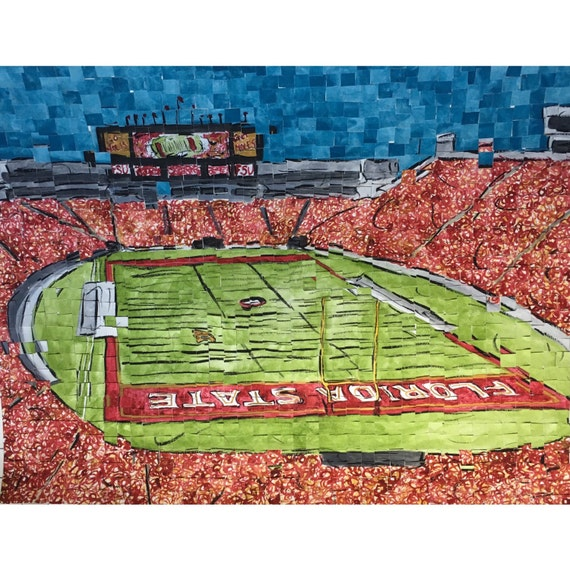 "Florida State University - Campbell Doak Stadium - Architectural Art: 16""x20"" Original Painting"