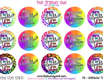 "Born To Sparkle And Shine - Bright Rainbow Digital Bottle Cap Images - INSTANT DOWNLOAD - 1"" Bottle Cap Images 4x6 - 75"