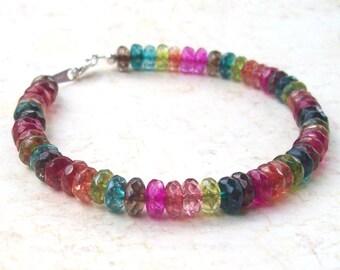 Tourmaline Quartz Bracelet, gemstone bracelet, watermelon, sterling silver, stacking bracelet, gems, pink, green, red, beaded, faceted