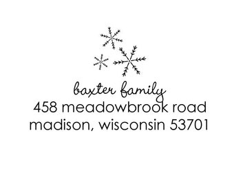 snowflake trio rubber address stamp