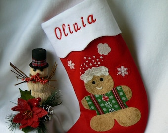 Ginger Bread Man Christmas Stocking Felt Personalized Christmas Stocking Kids Christmas Stocking Traditional Red Felt Christmas Stocking