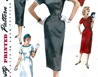 Simplicity 1410 Vintage 50s Sewing Pattern for Misses' One-Piece Dress - Uncut - Size 14 - Bust 32