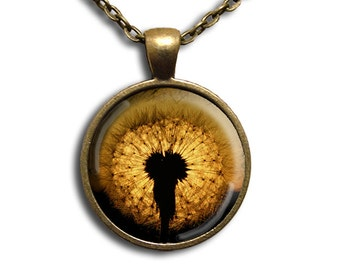 Glowing Dandelion - Glass Dome Pendant or with Chain Link Necklace NT118