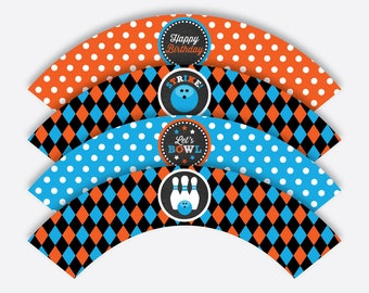 Instant Download, Bowling Cupcake Wrappers, Bowling Party Cupcake Wrappers, Bowling Party Decoration, Bowling Printable, Chalkboard(CKB.177)