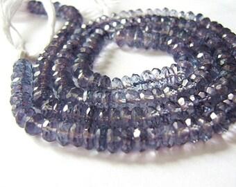Blue Quartz  Faceted Rondelles. Semi Precious Gemstones.  6mm... Your Choice.. (6QZB2)