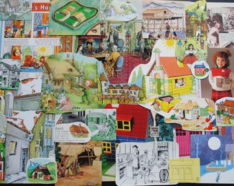 Vintage Houses Inspiration Pack Junk Journal Kit, Paper Ephemera Scrap Pack, Scrapbooking, Junk Journals, Smash books, Paper Crafts