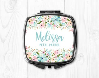 Flower Girl Gift Ideas Personalized Flower Girl Gift Custom Flower Girl Gift Flower Girl Proposal Floral Compact Mirror Pink Blue