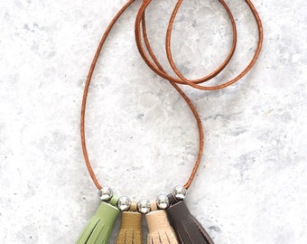 Classy Leather Tassel Necklace, Earth Tone Necklace for Women, Adjustable Length, Bohemian Jewelry, Eco Friendly Gift
