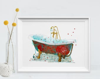 Bath Art Print Vintage Bathroom decor painting Bath Print fine art collage vintage art Bathroom Decor Poster Wall Home decor (87)