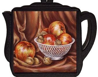 """6"""" X 6"""" Ceramic Tile Trivet. BASKET OF apples"""