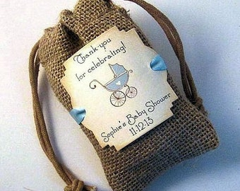 Burlap baby shower favor bags - Personalized - Baby Carriage