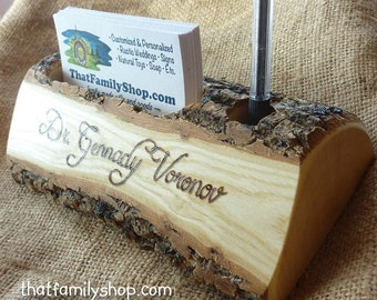 Rustic n' Wild Business Card and Pen Holder with Custom Names, Initials, Personalized Office Desk Decor, 5th Anniversary Gift Idea