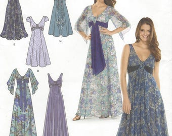 Womens Special Occasion Dress Prom or Bridesmaid 3 Lengths OOP Simplicity Sewing Pattern 3785 Size 8 10 12 14 16 Bust 31 1/2 to 38 UnCut