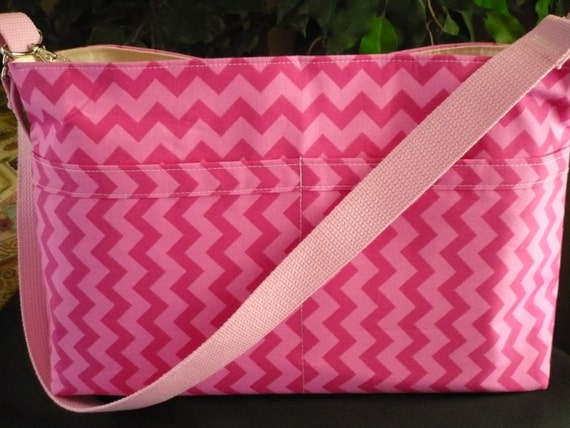 Pink Chevron D-Ring Purse Diaper Bag