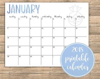 2018 Hand Lettered Watercolor Printable Calendar