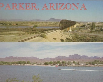 Vintage Postcard Parker Arizona Dual View Scenic Bridge Waterfront Beach United States USA 1980s Photochrome Card Postally Unused