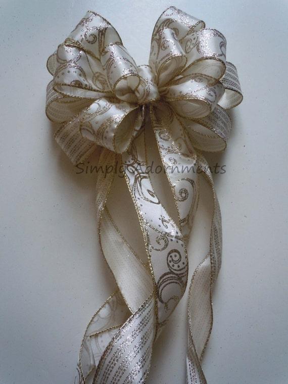 Ivory gold Wedding Church Pew Bow Swag Bow Ivory Gold Christmas Bow Ivory Gold Filigree Christmas Wreath Bow Ivory Gold Christmas Tree Bow