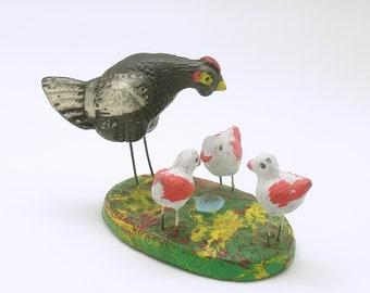 Vintage Miniatures Hen Chicks Germany Putz