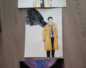 Original watercolor Castiel Supernatural