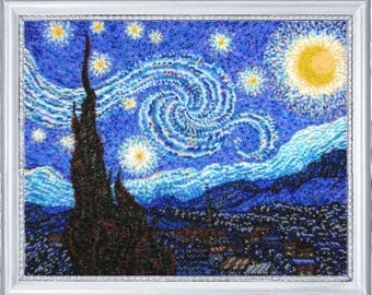 Bead embroidery kit, The Starry Night, Vincent van Gogh, needlepoint kits, circular embroidery technique, full embroidery, DIY gift idea
