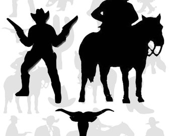 Cowboy Silhouettes Digital Collage Sheet - Western, Old West