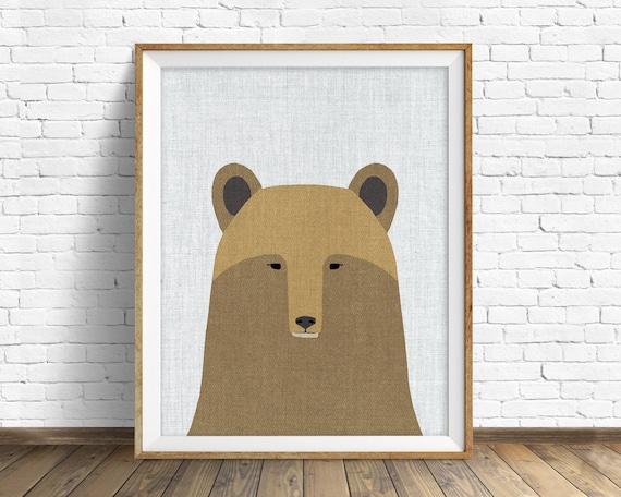 Grizzly - art print, large art, mid century modern wall art, art for kids, nursery decor, nursery wall art, kids room art, animal print, art