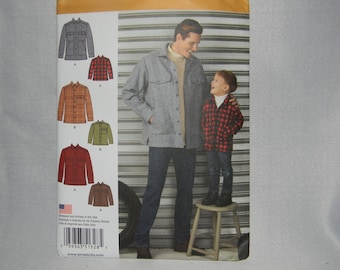 New Simplicity Pattern 1328 Men's and Boy's Shirt Jacket Adult and Child