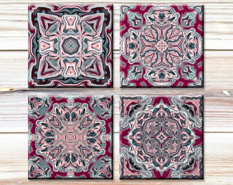 Mandala Images, Paper Crafts, Digital Collage Sheet, Printable images for paper crafts, greeting cards, Pink and Grey Motifs, Mandala Art
