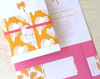 Palm Tree Wedding Invitation - Beach Wedding Invite - Mint Orange Pink Tropical Destination Wedding - Belly Band Invite - Choose Your Colors
