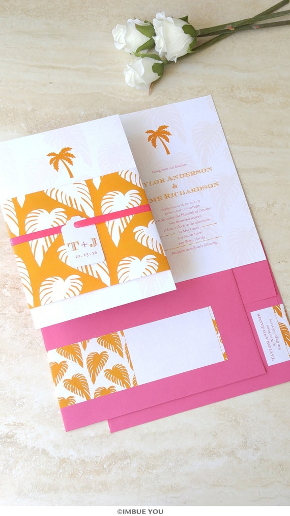 Palm Tree Wedding Invitation Beach Wedding Invite Mint