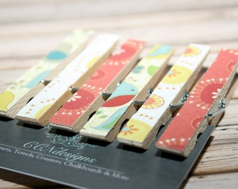 Yellow & Red Clothespin Magnets, Set of 6