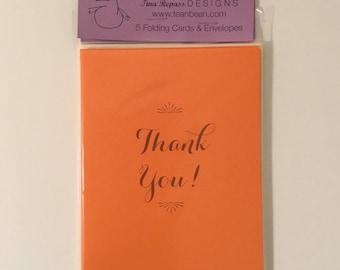 Orange Thank You Cards - Set of 5 - Folding Cards