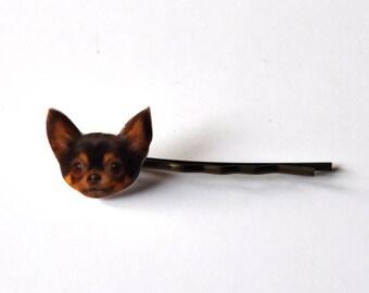 1 Barrette cheveux Tête de chien Chien chihuahua feu & noir; accessoire kawaii, bijoux coiffure pour filles et femmes