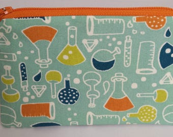 Little Zipper Pouch - Science Lab // Coin Purse // Gift Card Holder // Party Favor // Stocking Stuffer // Gift for Kids