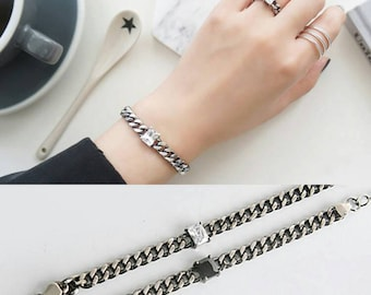 1pc Cuban Curb link bracelet/gift for her,sterling silver 925 chain/onyx agate silver bracelet/curve link bracelet/ AGSS17