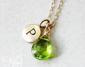 august il listing kggy necklace initial jewelry peridot birthstone
