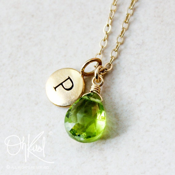 Gold green peridot necklace august birthstone initial gold green peridot necklace august birthstone initial necklace aloadofball Images