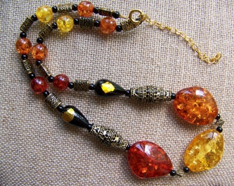 Amber Necklaces,Stone necklaces,Polish jewelry,Black beaded jewelry,tribal jewelry,yellow orange necklaces,,gifts for her,Amber Jewelry, #54