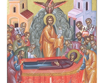 Virgin Mary Dormition | Byzantine Christian Orthodox Icon on Wood
