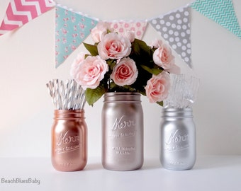 Metallic mason jars / rose gold / copper / silver / blush / painted mason jars / centerpiece / vase / table decor / party decor / baby