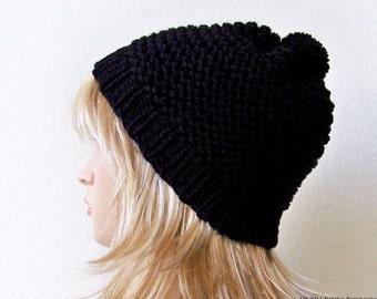 Knit Pom Pom Hat, Black Knit Hat With Pom Pom Hat, Chunky Knit Hat, Black Slouchy Beanie, Womens Pom Pom Hat, Mens Slouchy Beanie Knit