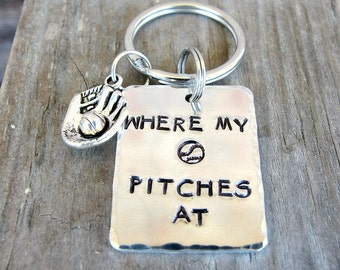 Softball Gifts - Pitcher Gifts - Softball Keychain -  Where My Pitches At - Hand Stamped Key Chain